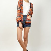 Unit Aztec Cardigan - Orange | RUNWAY BANDITS
