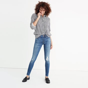 "9"" High-Rise Skinny Jeans in Allegra Wash: Rip and Repair Edition : shopmadewell high-rise skinny jeans 