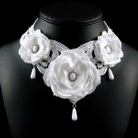 White Lace Bridal Choker Necklace  Victorian Inspired by Arthlin