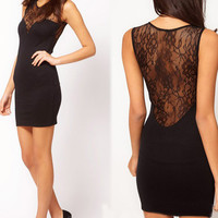 Stitching lace tight dress