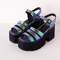 Missguided - Cleated Chunky Flatform Sandals Iridescent Teal