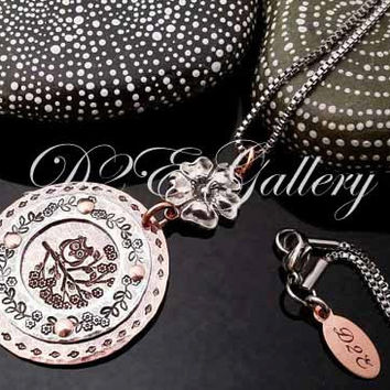 D2E hand stamped mixed metal  statement necklace Riveted copper and silver Owl on branch  with flower connector