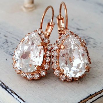 Rose gold white clear crystal teardrop earrings, Rose gold Drop earrings, Bridal earrings, Bridesmaid gift, Dangle earrings, Gold or silver