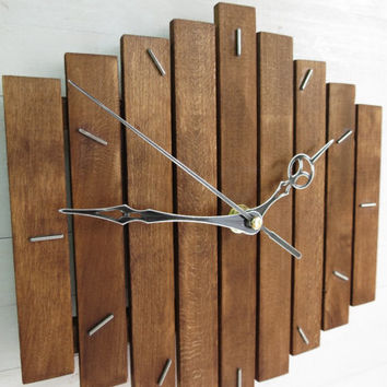 "Romb I, quiet wooden wall clock 20x20cm (8x8"") minimalistic simple elegant home office hanging walnut stain silent quartz movement, Paladim"