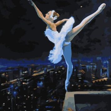 DRAWJOY Framed DIY Painting By Numbers Painting&Calligrapy Hand Painted on Canvas Diy Oil Painting Wall Art Of Ballet Girl