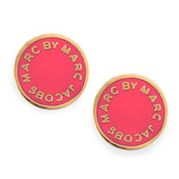 Enamel Logo Disc Stud Earrings, Hot Pink