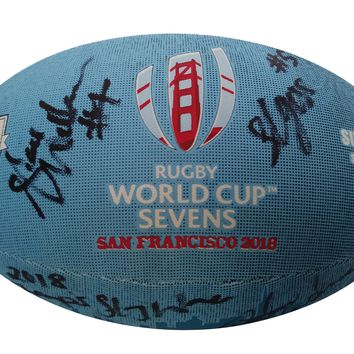 2018 New Zealand Black Ferns Rugby National Union Team Autographed Rugby World Cup Sevens Logo Ball, Proof