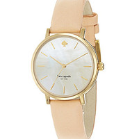 kate spade new york Classic Metro Vachetta Leather Watch - Gold/Beige
