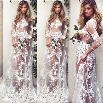 Thefound Fashion Floral Long See Through Dress Sexy Women Summer Boho Lace Floral Long Maxi Evening Party Dress Beach Sundress