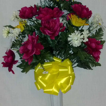 Mixed Peony Cemetery Vase with Fuchsia and Yellow Flowers - 27 inch