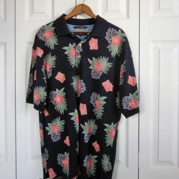 Vintage Hawaiian Golf Shirt Tommy Hilfiger Cotton Knit Collared Polo Shirt Hawaiian Fl