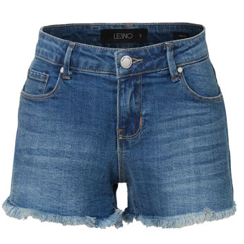 LE3NO Womens Casual Distressed Cut Off Denim Jean Shorts with pockets