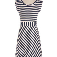 ModCloth Nautical Long Cap Sleeves A-line Riviera Romance Dress in Navy