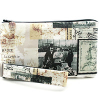 Bicycle wristlet / Paris clutch / small purse / zipper pouch & detachable key fob gift set for women features Victorian men
