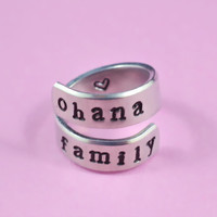 ohana family - Hand Stamped Spiral Ring, Pure Aluminum, Shiny, Skinny Ring, Newsprint Font