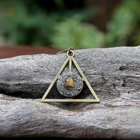 Pyrite & Citrine Necklace - Pyramid Jewelry -  Boho Chic - Triangle Necklace - Citrine Jewelry - Gypsy Boho Jewelry - Bohemian Necklace