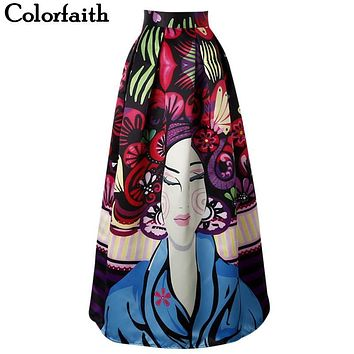 Women Patterns Maxi Skirt Women Fashion Satin Harajuk Flared Long Skirt Vintage Retro Rose Floral Print Pleated Skirt SP004