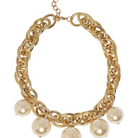 Free Spirit Pearl Chain Necklace in Pearl – bandbcouture.com