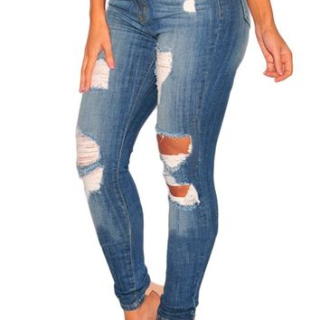 Women's Denim Ripped High Waist Skinny Jeans