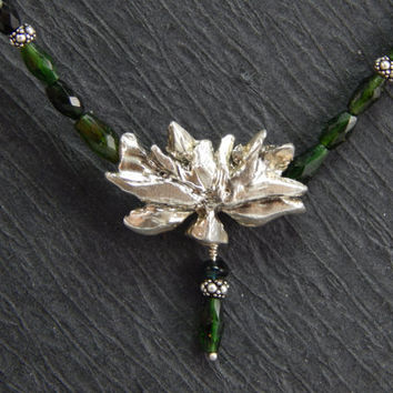 sterling silver lotus necklace, emerald green tourmaline, cast silver pendant