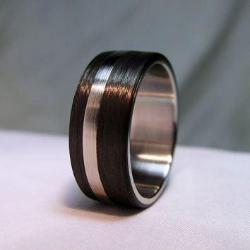 Carbon Fiber and Stainless Steel Ring - Offset Double Step
