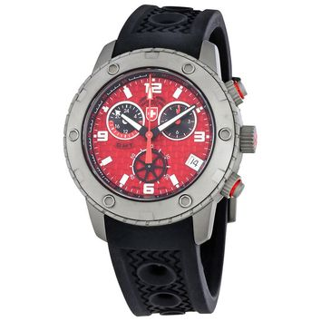 Swiss Military Rallye GMT Red Dial Mens Silicone Watch 2748