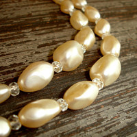Vintage Pearl Necklace, Ivory Pearls, Faux or Glass Pearls, Nugget Pearl Choker, Multi-Strand Layering Necklace, Layered, Japan Jewelry