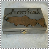 Fishing Themed Weathered Rustic Divided HIS/HERS Wedding Ring BOx Gift Box Trinket Box Wedding Decor