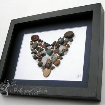 Love Gift - Couples Gift- Handmade Home Decor - Unique Heart Art - Coastal Art Work - Unique Home Decor - West Coast Heart - Mixed Media Art