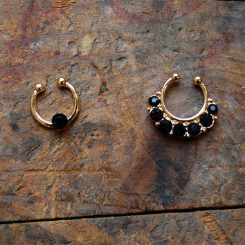 Set of 2 Gold Onyx Clip On Nose Ring, Rhinestone Gold Faux Septum Piercing
