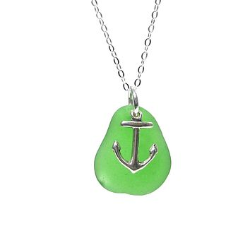 Anchor Charm Sea Glass Necklace with Gift Box