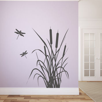 "Dragonfly and Cattails Vinyl Wall Decal Graphics Bedroom Home Decor 32""x36"""
