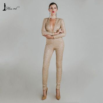 DCCKJG2 Missord 2016 Sexy O-neck long sleeve sequin jumpsuit FT4767