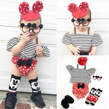 2017 New Fashion Baby Girl Clothes Summer Off shoulder Striped Crop Top +Polka Dot Bow Bloomers Bottom 2PCS Outfit Clothing Set