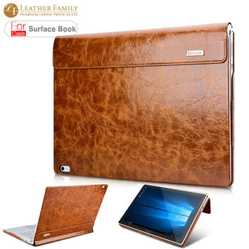 "TOP QUALITY TRENDY Oil Wax Vintage Genuine Cowhide Leather case for surface book 13.5"" with stand function Laptop Iiner cover - POKWI"