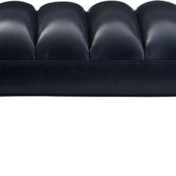 Christophe Bench Indigo Leather Dark Walnut