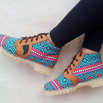 Ethno canvas shoes Ikat blue turquoise handmade Rangkayo sneakers Preorder ankle boots wanderlust
