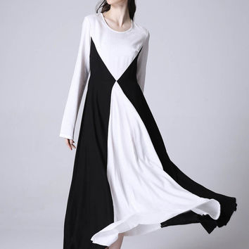 White black linen dress maxi dress women dress (1172)