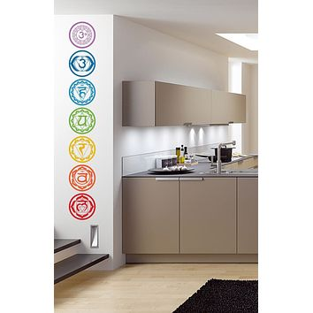 7pcs/set Chakras Vinyl Wall Stickers Mandala Yoga Om Meditation Symbol Wall Decals home decor decoration