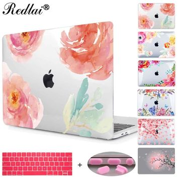 Floral Crystal Clear Print Hard Case For Macbook Pro 13 15 2016 Touch bar Laptop bag Air Pro Retina 12 13 15 with Keyboard Cover
