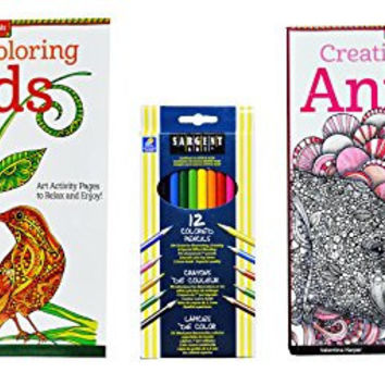 Adult Coloring Books Set of 2 with Colored Pencils