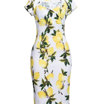 Casual Sweet Heart Fruit Printed Split Bodycon-dress