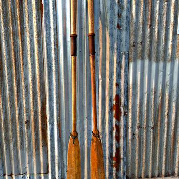 Vintage Oars Paddles Rustic Wall Art Decor Nautical Beach Sea Wood Boat Shabby Chic Turquoise Brass