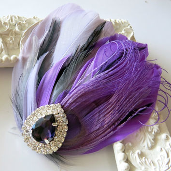 Bride Bridesmaid Feather Hair Accessory, Feather Fascinator, Bridal, Hair PIece,Grey, Lavender, Black, Purple, Feather, Hair Clip