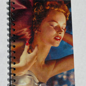 Vintage Upcycled Album Cover Sketchbook Journal Notebook 1950s Sultry Dame