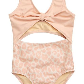 Something Navy Open Front One-Piece Swimsuit (Toddler Girls, Little Girls & Big Girls) (Nordstrom Exclusive)   Nordstrom