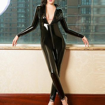 Womens Sexy Slim Shiny Front Zipper Solid Color Long Sleeve Jumpsuit Ladies Fashion Long Rompers Wet Look Playsuit Clubwear