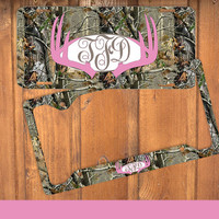 Pink Camo Antlers Monogram License Plate Frame Holder Deer Metal Wall Sign Tags Personalized Custom Hunting Vanity Tree Camo Country