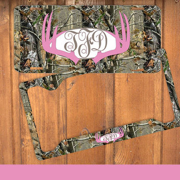 pink camo antlers monogram license plate frame holder deer metal wall sign tags person