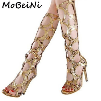 MoBeiNi Sexy women summer knee high boots gladiator rome holes cut out open toe sandals party clubwear shoes pumps high heel